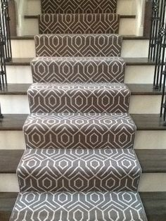 Wool runner on stairs with serged edges