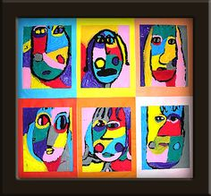 elementary art lesson cubism Picasso self-portraits