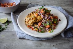 We've served this jerk spiced chicken breast with a zingy tomato salsa, crisp sweetcorn and coriander buckwheat. // Ingredients:  2 x 180g free-range chicken breast 1 tbsp jerk seasoning 80g buckwheat 1 red pepper 1/2 red onion 2 tomatoes 100g sweetcorn (drained) 1 lime 1 green chilli Handful of coriander Already in your kitchen  Sea salt & black pepper Coconut oil / olive oil