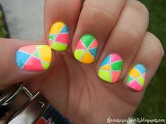 Neon Abstract Nails. I love these!