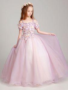 Flower Girl Dresses Soft Pink Off The Shoulder Applique Back Illusion Floor Length Kids Pageant Dresses