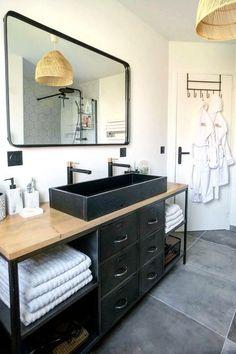 White Bathroom Tiles, Bathroom Renos, Bathroom Wall Decor, Bathroom Renovations, Small Bathroom, Bathroom Ideas, Modern Bathroom Vanities, Black Cabinets Bathroom, Warm Bathroom