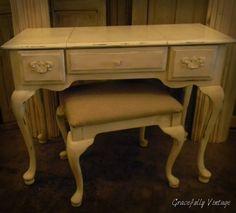 Vintage desk & Linen Ottoman