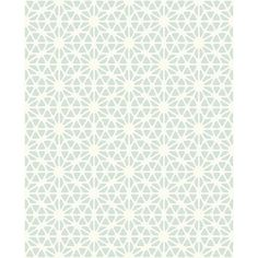 A pearlescent white background lends icy shine to this geometric wallpaper. The powder blue pattern is printed with raised ink for a tactile effect.