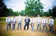 here is what iu pictured for the guys...jimmy in black and the groomsmen in gray with suspenders and its what jimmy wants too...only with chuck taylors!