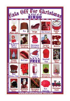 Hats Off For Christmas Bingo Game