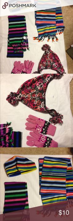 Girls Matching hat, mittens and scarves Old Navy One matching hat and mittens from Old Navy size S M. One hat and matching scarf unbranded and one additional scarf. Super soft and in very good condition! Old Navy Accessories Hats