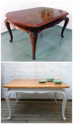Antes y después. Una mesa comedor estilo shabby chic. Studio Alis - Barcelona
