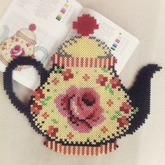 Teapot hama perler beads (cross stitch pattern) by windmuehle21