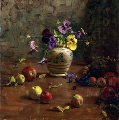 Del Gish   Apples and Pansies   The Art Spirit Gallery