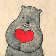 Big Bear with Heart Ink Drawing Print Sweet Love por mikaart