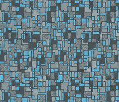 Mid Centrury Abstract Blue and Grey fabric by hollywood_royalty on Spoonflower. Mid Century - Retro - Vintage 1950s, style designs Available as Wallpaper, Gift Wrap and Fabric just click on the visit button.