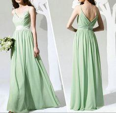 Spagetti Strap Mint Green Bridesmaid Dress Long Chiffon Prom Dress,Formal Dress,Long Bridesmaids Dresses Party dresses