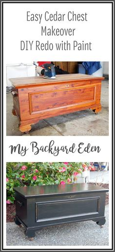 If you have an old cedar chest lurking in your house, you are SO going to want to do this easy cedar chest makeover with paint. Super easy DIY redo project. I think I may even turn it into a coffee table! Do It Yourself Furniture, Diy Furniture Plans, Refurbished Furniture, Repurposed Furniture, Shabby Chic Furniture, Furniture Makeover, Home Furniture, Dresser Repurposed, Painted Furniture