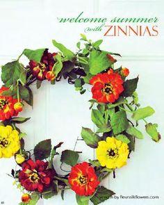 zinnias wreath