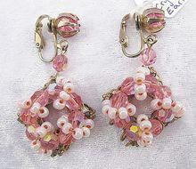 Feminine, Ornate Pink Vintage Crystal Dangle Clip Earrings from Vintage Jewelry Girl! #vintagejewelry