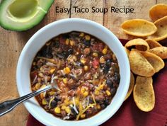 Easy Taco Soup Recipe - throw all ingredients together except for cheese, avocado, & chips into a bag a freez