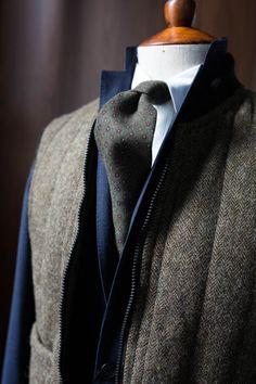 lnsee:  Drake's Wool Print Tie Ring Jacket Winter Blue Suit Man 1924 Bomber Vest