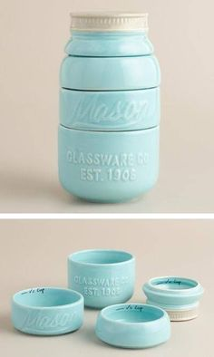 The stylish Mason Jar Measuring Cups feature a design inspired by vintage canning jars. Use each layer of the jar to measure liquids or solids; after cleaning, stack the durable ceramic cups into an aqua blue mason jar for a … Continue reading → Mason Jar Measuring Cups, Mason Jars, Canning Jars, Measuring Spoons, Cool Ideas, World Market, Lodge Decor, Organizer, Kitchen Gadgets