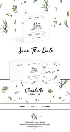 Ooh la la! Olive & Eucalyptus Save the Dates by @TreasureStudios. Stunningly simple and gorgeous, these minimalist envelopes are the original inspiration for the Charlotte Collection and it's easy to see why. If you would like to add a little touch of eucalyptus and olive foliage to your invitations, these a perfect. Your guests will no doubt be looking forward to the big day having unwrapped them! Handmade, 100% Vegan printed and cruelty free, Fully Recyclable, Calligraphy services…