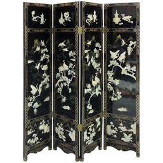 Finely Detailed Vintage, Chinese Lacquer Folding Screen  | From a unique collection of antique and modern paintings and screens at http://www.1stdibs.com/furniture/asian-art-furniture/paintings-screens/