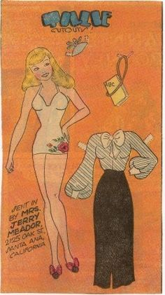 Tillie the Toiler Tillie the Toiler was a newspaper comic strip created by cartoonist Russ Westover * 1500 free paper dolls The International Paper Doll Society @QuanYin5 #QuanYin5 Arielle Gabriel artist *