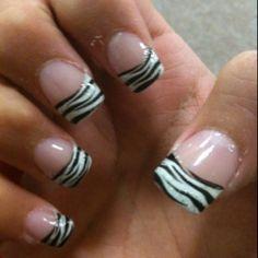 Zebra print tips Wild Nail Designs, Creative Nail Designs, Nail Polish Designs, Creative Nails, Get Nails, Fancy Nails, Love Nails, How To Do Nails, Pretty Nails