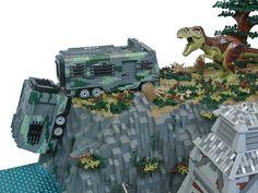 Don't Step On the LEGOs — (via A Jurassic sized collaboration) Lego Jurassic Park, Jurassic Park World, Legos, Dinosaur Display, Lego Sculptures, Amazing Lego Creations, The Lost World, Lego Models, Lego City