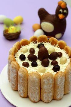 Easter chocolate charlotte - My CMS Pumpkin Cheesecake Recipes, Easy Cake Recipes, Dessert Recipes, Easter Cake Easy, Dessert Original, Homemade Carrot Cake, Easter Chocolate, Mini Desserts, Easter Desserts