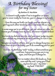 sister's birthday prayer | Affordable Inspirational Poem for Sister, birthday blessing gift