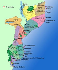 """Map of Mozambique. Look south for """"Banhine Park""""! Africa Map, Out Of Africa, Africa Travel, South Africa, Maputo, Mozambique Beaches, Passport Stamps, African Countries, Travel Maps"""
