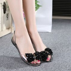 e214a70b47e18 Women s Fashion Beaded Jelly Flats Bow Sandals Clear Summer Beach Shoes  Slip On