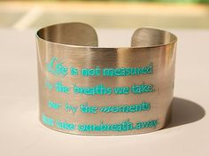 """I am running a fundraising promo for Rosemary Farm Horse Sanctuary in my Etsy store!!  30% of the purchase price of every etched metal cuff in my store will be donated to RF, even if you choose one that does not have a horse theme!!! Etched Pewter 1.5"""" wide, aqua ocean blue, Handmade Joann Hayssen SRA  $35.00"""