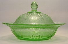 Depression Glass Butter Dish - Green Royal Lace $295
