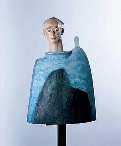 blue - man - sculpture - Katsura Funakoshi - A Yard of Clouds -Painted camphor wood, marble, sandstone Wood Sculpture, Sculptures, Inside Art, Ceramic Figures, Art Forms, Art Pieces, Marble, Museum, Yard