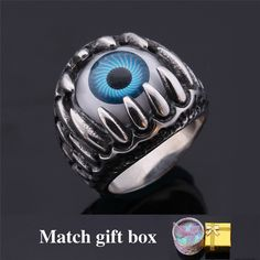 Gothic Ring For Men Vintage Fashion Jewelry & GIFT BOX Evil Eye Trendy Band Ring Never Fade 316L Stainless Steel Ring GR380