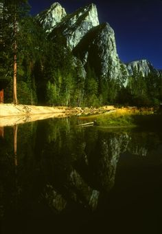Three Brothers and reflection, Yosemite Valley, California; photo by Bruce Muirhead