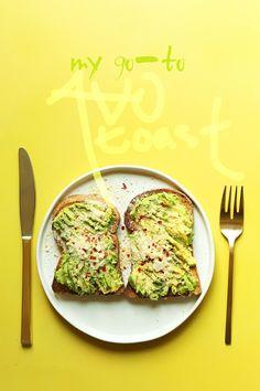 My GO-TO Avocado Toast! 5 minutes, 3 ingredients, SO delicious! #vegan #glutenfree #avocado #recipe #plantbased