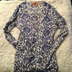 Tory burch cardigan Lightweight adorable floral cardigan! Like new! Great for spring/summer! And super soft! Tory Burch Sweaters Cardigans