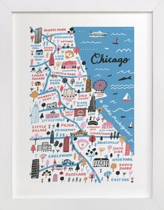 """I Love Chicago"" - Art Print by Jordan Sondler in beautiful frame options and a variety of sizes."
