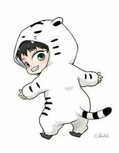Chibi Chanyeol the Rawring Tiger Kpop Exo, Park Chanyeol Exo, Baekhyun, Chibi Exo, Anime Chibi, Exo Cartoon, Cute Cartoon, Kpop Fanart, Exo Stickers