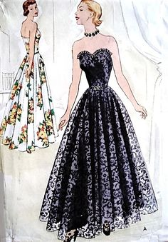 1940s DREAMY Strapless Evening Gown Pattern McCALL 8476 Lovely Sweetheart Bodice Full Skirt Dress, Perfect For Sheers Lace Bust 38 Vintage Sewing Pattern
