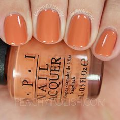 """THIS COLOR.  I can't handle it.  Absolute perfection for Fall.  Can it just be Fall already?  I'm ready for boots and sweaters and scarfs and pumpkins to match my nails 'cause I'll be wearing this!  Get all the details about @opi_products """"Freedom Of Peach"""" and the rest of the Washington D.C. Collection at PeachyPolish.com! #OPI #KerryWashington #PeachyPolish"""