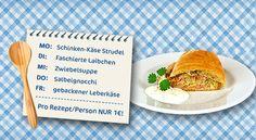Von Strudel über Gnocchi zu Leberkäse: Diese Woche gleicht kein Gericht dem anderen! Die Wocheneinkaufsliste mit allen Rezepten findet Ihr in unserem Online-Magazin: http://www.cleverleben.at/clever-magazin/post/2012/06/29/von-strudel-ueber-gnocchi-zu-leberkaese.html