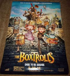"The BOXTROLLS 'Dare To Be Square' Genuine Movie Poster, 27""x 40"" Size,Fast Ship!"