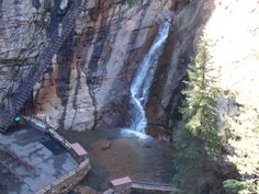 Seven Falls in Colorado...you climb over 200 steps to get to the top of the falls. There are seven separate waterfalls than flow one into the other! Awesome place to visit!