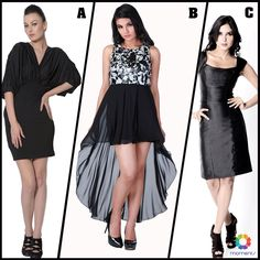 Which one of these black dresses do you like the most – A, B or C?   Find them all at Trendy Divva store at #MomentsMall