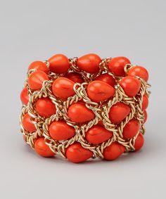 Coral & Gold Stone Chain Stretch Bracelet