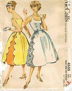 1950s vintage sewing pattern. McCall's 4555. © 1958 Dress with Low Scoop Neck, Side Scallop Skirt.