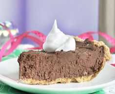 "the ultimate chocolate fudge pie (contains tofu).  6 ingredients.  Touted as the ultimate ""does not TASTE healthy dessert"""